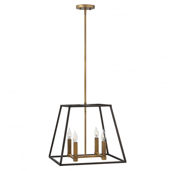 Hinkley Lighting FULTON 4 light pendant chandelier in bronze with tapered cage design