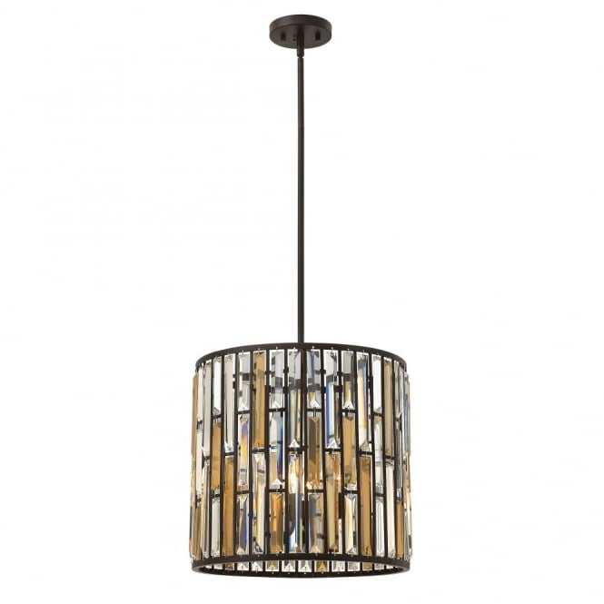 Hinkley Lighting GEMMA contemporary decorative bronze & crystal ceiling pendant