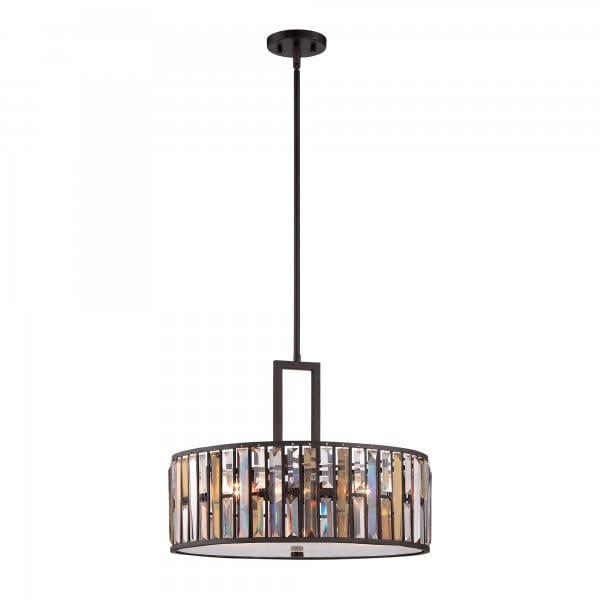 Decorative Modern Crystal Ceiling Pendant With Bronze Frame