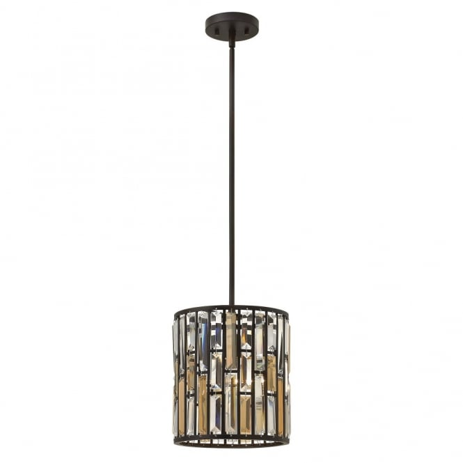 Hinkley Lighting GEMMA contemporary decorative bronze & crystal mini ceiling pendant