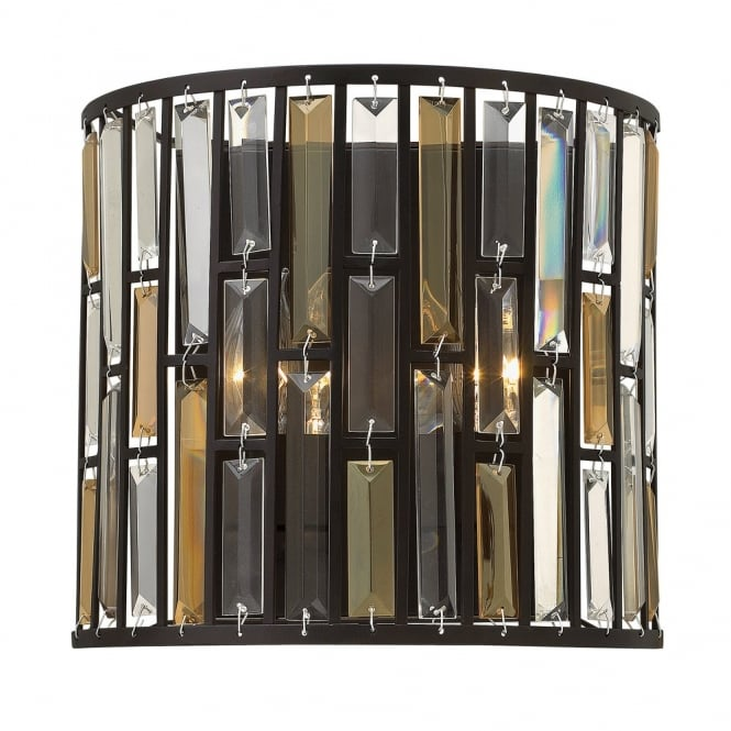 Hinkley Lighting GEMMA contemporary decorative bronze & crystal wall light (wide)