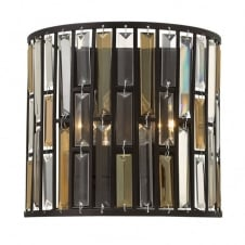 GEMMA contemporary decorative bronze & crystal wall light (wide)