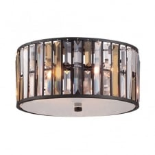 decorative modern flush ceiling light with bronze finish & crystal shade