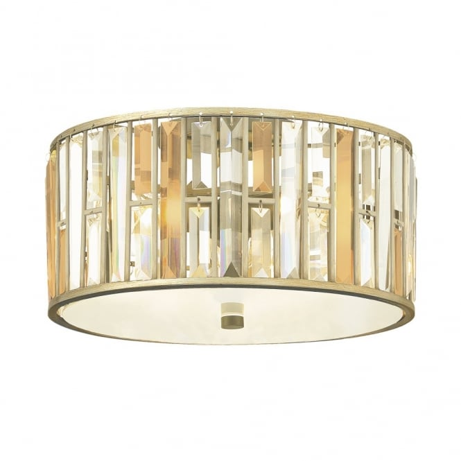 Hinkley Lighting GEMMA contemporary decorative flush silver leaf & crystal ceiling light