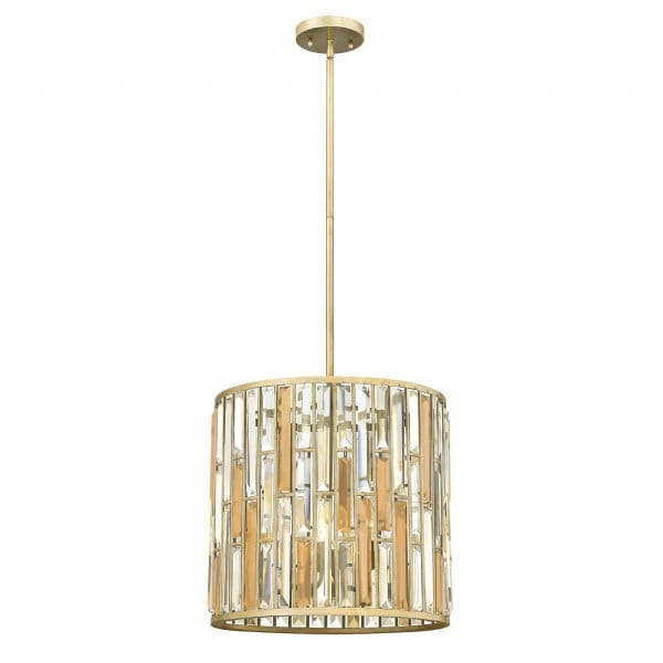 Decorative Modern Crystal Ceiling Pendant With Silver Leaf Frame