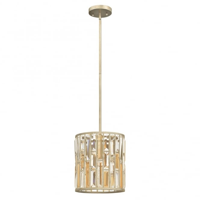 Hinkley Lighting GEMMA contemporary decorative silver leaf & crystal mini ceiling pendant