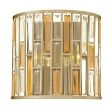 GEMMA contemporary decorative silver leaf & crystal wall light (wide)