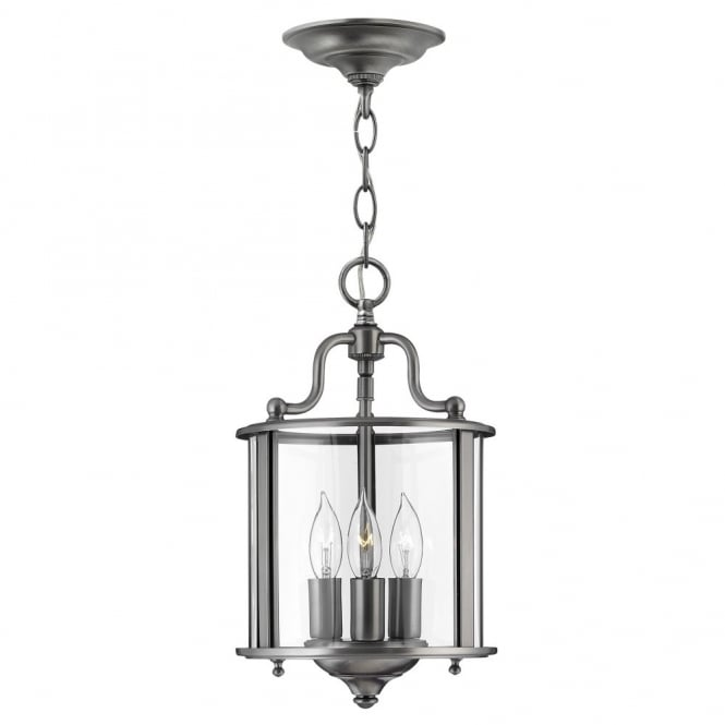 Hinkley Lighting GENTRY traditional lantern design ceiling pendant in pewter (small)