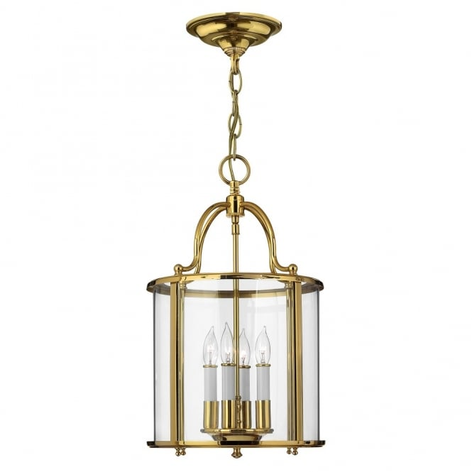 GENTRY traditional lantern design ceiling pendant in polished brass (medium)