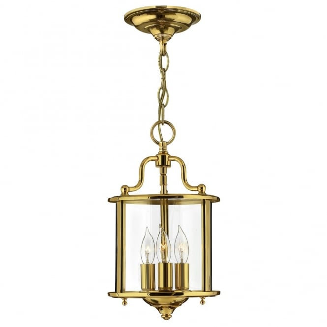 GENTRY traditional lantern design ceiling pendant in polished brass (small)