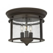 traditional old bronze flush ceiling light with seeded glass shade