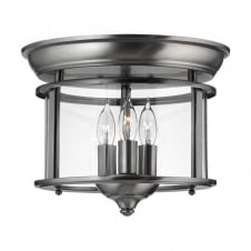 traditional pewter flush ceiling light with seeded glass shade
