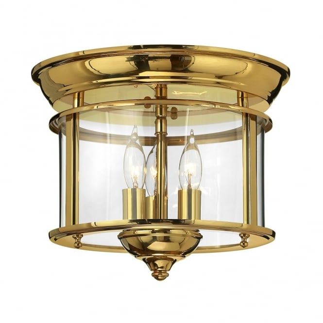 Traditional flush mount ceiling lantern in polished brass traditional polished brass flush ceiling light with seeded glass shade mozeypictures Images