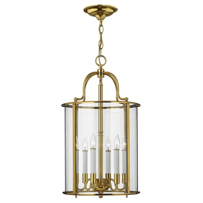 Hinkley Lighting GENTRY traditional large lantern design ceiling pendant in polished brass