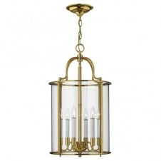 traditional large lantern ceiling pendant in polished brass with seeded glass panels