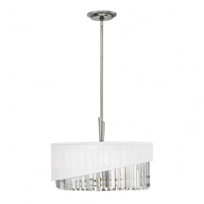 GIGI modern 3 light pendant in polished nickel with crystal drops and organza shade