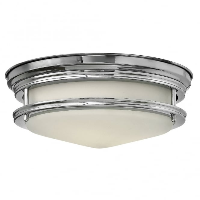 Retro Flush Bathroom Ceiling Light In Polished Chrome With Opal Glass