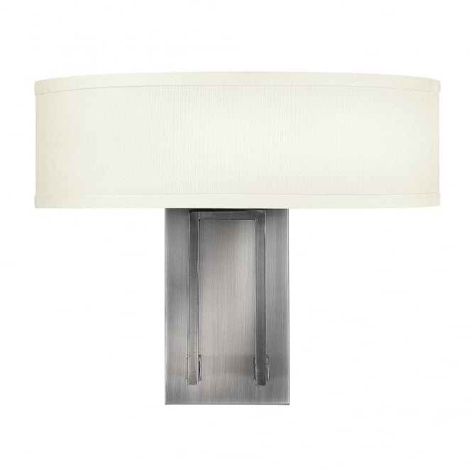 HAMPTON modern antque nickel 2lt wall light with off white linen shade