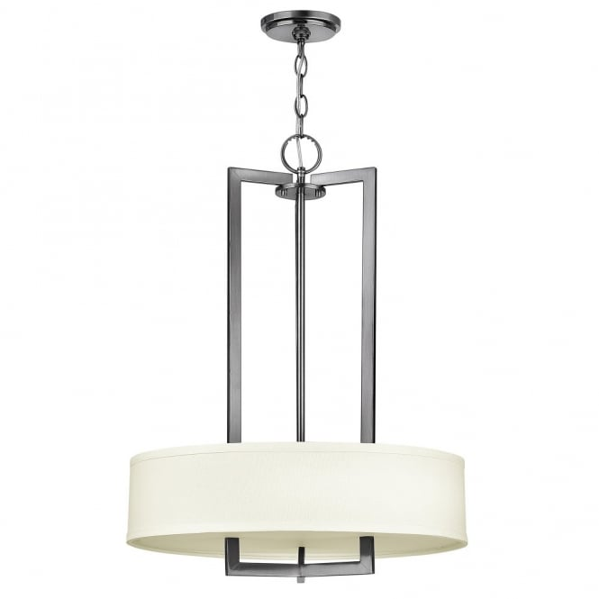 Hinkley Lighting HAMPTON modern antque nickel 3lt pendant chandelier with off white linen shade