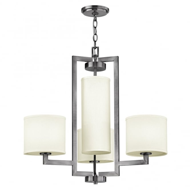 Hinkley Lighting HAMPTON modern antque nickel 4lt pendant chandelier with off white linen shades