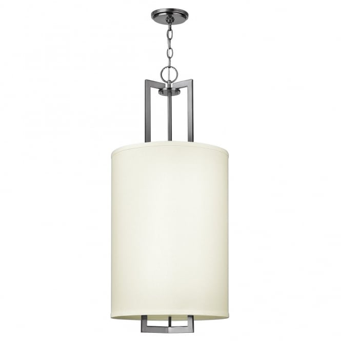 Hinkley Lighting HAMPTON modern antque nickel ceiling pendant with large off white linen shade