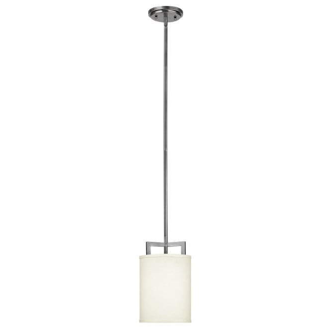 Hinkley Lighting HAMPTON modern antque nickel mini ceiling pendant with off white linen shade