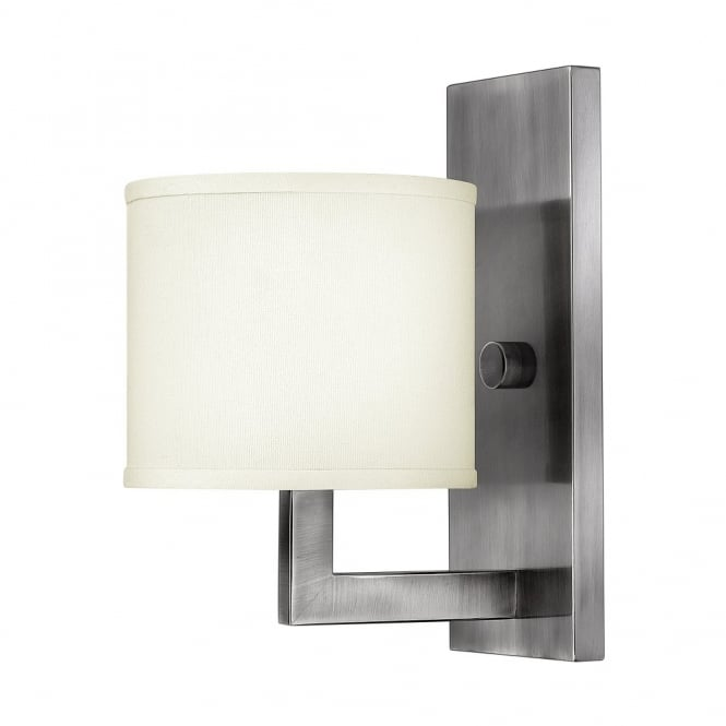 Hinkley Lighting HAMPTON modern antque nickel wall light with off white linen shade