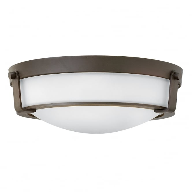 HATHAWAY 3 light flush ceiling light in old bronze with opal glass