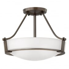 contemporary low ceiling light in old bronze with opal glass