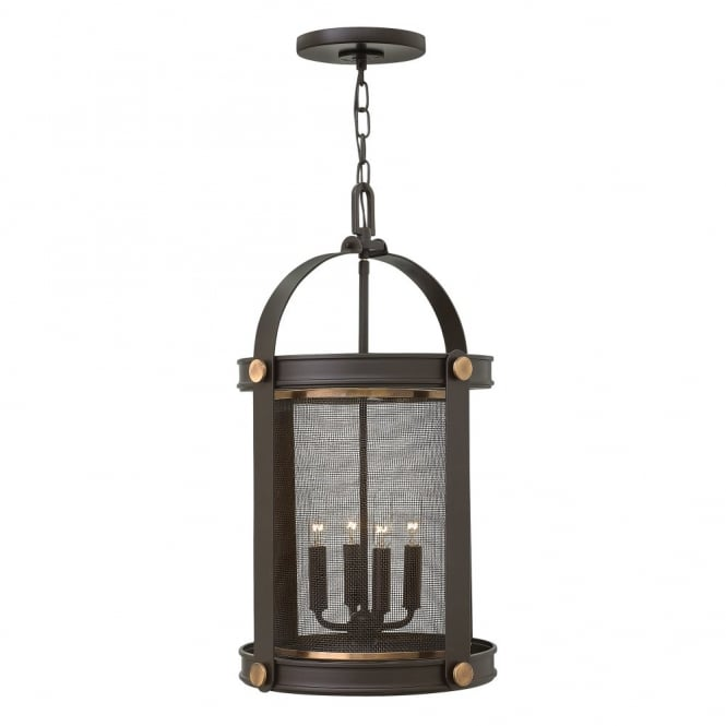 Hinkley Lighting HOLDEN 4lt rustic mesh shade pendant chandelier in a dark bronze finish