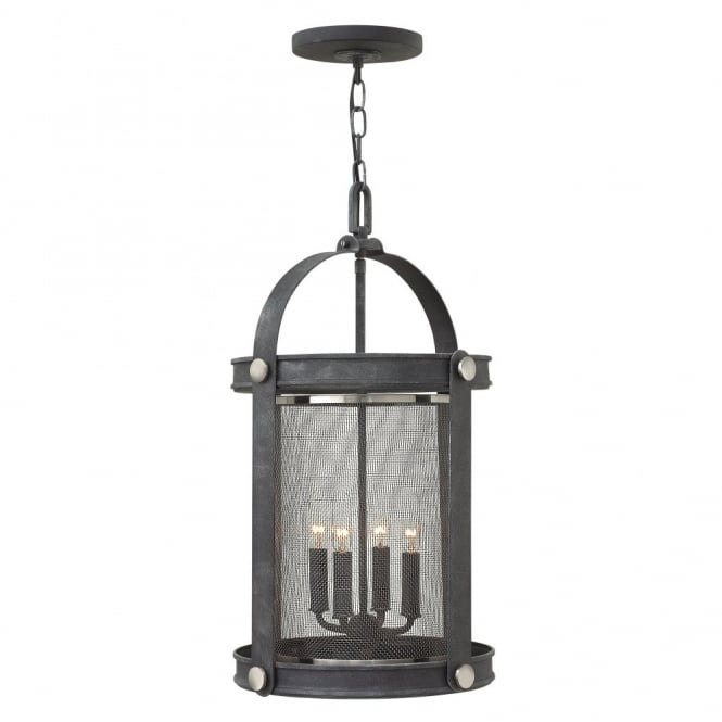 Hinkley Lighting HOLDEN 4lt rustic mesh shade pendant chandelier in an aged zinc finish