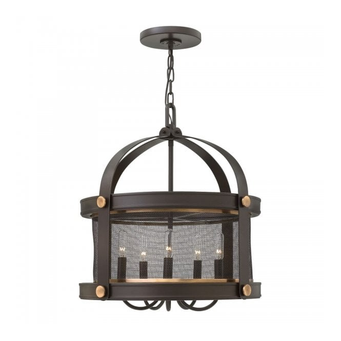 Rustic ceiling pendant in dark bronze finish with mesh surround shade rustic ceiling pendant in a dark bronze with mesh surround shade aloadofball Images
