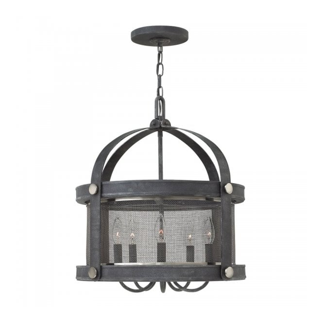 Hinkley Lighting HOLDEN 5lt rustic mesh shade pendant chandelier in an aged zinc finish