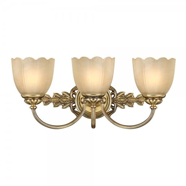 Traditional bathroom over mirror wall light in brass w - Traditional bathroom mirror with lights ...