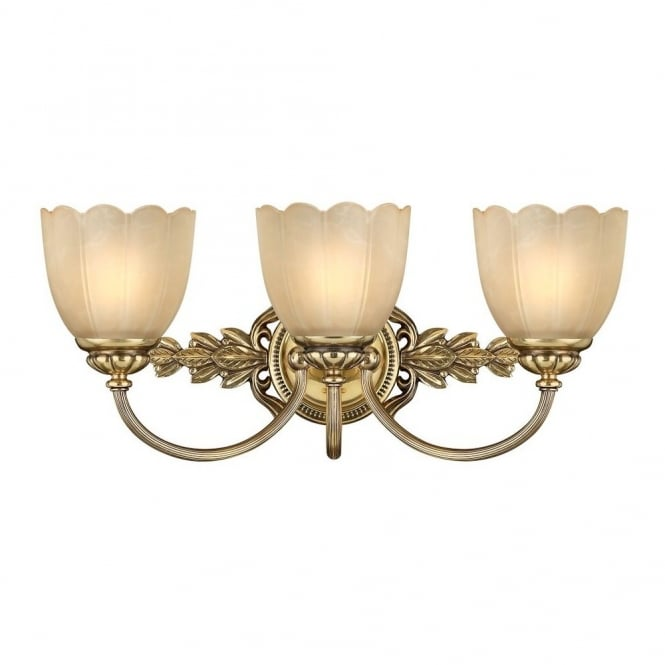 Hinkley Lighting ISABELLA decorative traditional brass bathroom over mirror light with etched amber glass shades