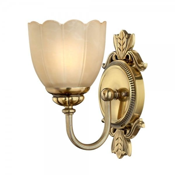 Traditional bathroom wall light in brass with amber etched for Traditional bathroom wall lights