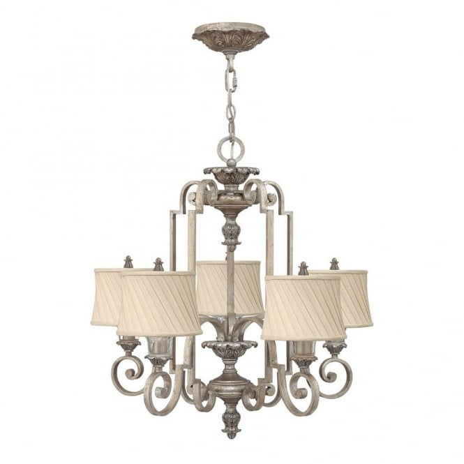 Hinkley Lighting KINGSLEY classic regal 5lt chandelier in silver leaf finish with dark ivory pleat shades