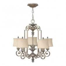 classic decorative ceiling pendant chandelier in silver leaf finish with ivory pleat shades