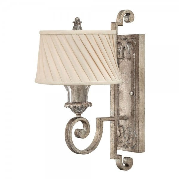 Matte Silver Wall Lights : Classic Decorative Wall Light in Silver Leaf Finish with Ivory Shade