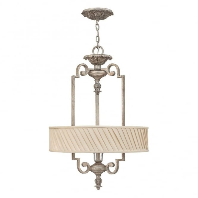 KINGSLEY decorative classic ceiling pendant in silver leaf finish with dark ivory pleated shade