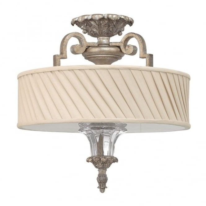 Hinkley Lighting KINGSLEY decorative classic flush ceiling light in silver leaf finish with dark ivory pleated shade