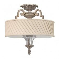 classic decorative semi flush ceiling light in silver leaf finish with ivory pleat shade