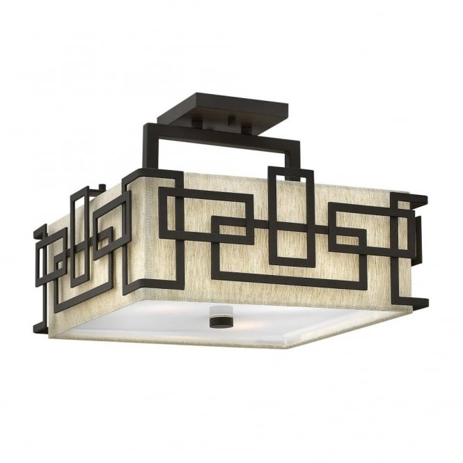 Hinkley Lighting LANZA contemporary geometric semi flush ceiling light in bronze with oatmeal linen shade