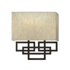 LANZA contemporary geometric wall light in bronze with oatmeal linen shade