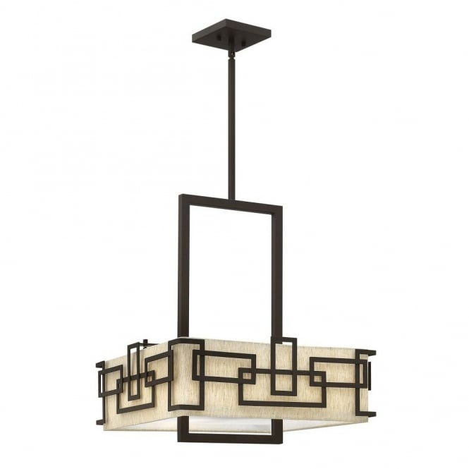 Hinkley Lighting LANZA large contemporary geometric ceiling pendant in bronze with oatmeal linen shade