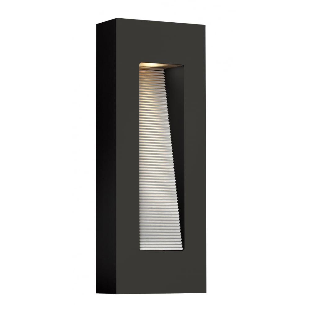 Luna contemporary led outdoor wall light in satin black large