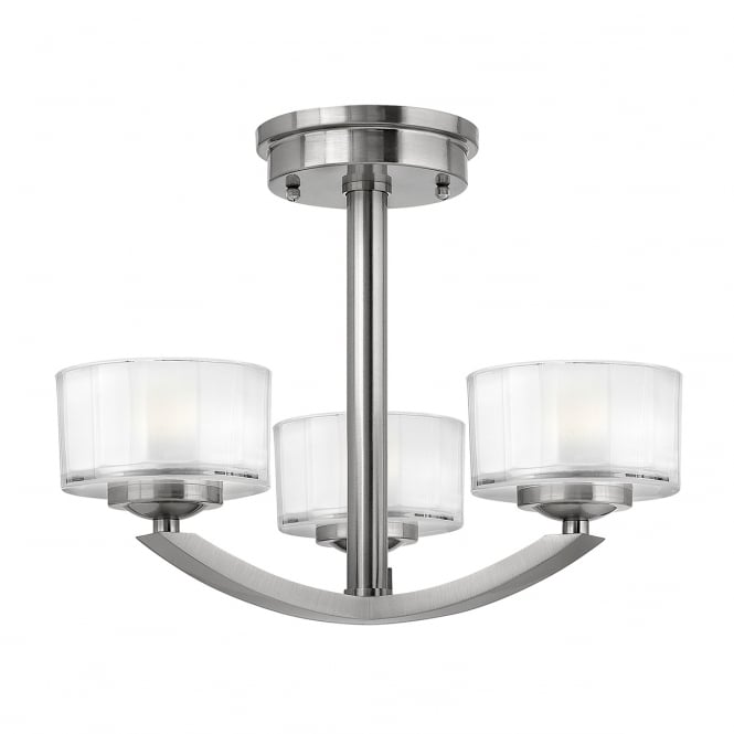 Hinkley Lighting MERIDIAN Art Deco style 3 light semi flush ceiling light in brushed nickel