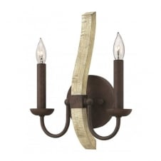 MIDDLEFIELD rustic distressed wood and rust iron double wall light
