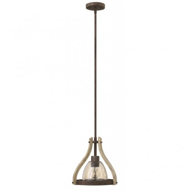 Hinkley Lighting MIDDLEFIELD rustic distressed wood and rust single pendant with crackle smoked glass