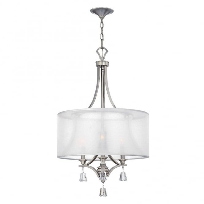 Hinkley Lighting MIME decorative modern 3lt pendant chandelier in brushed nickel with crystal accents